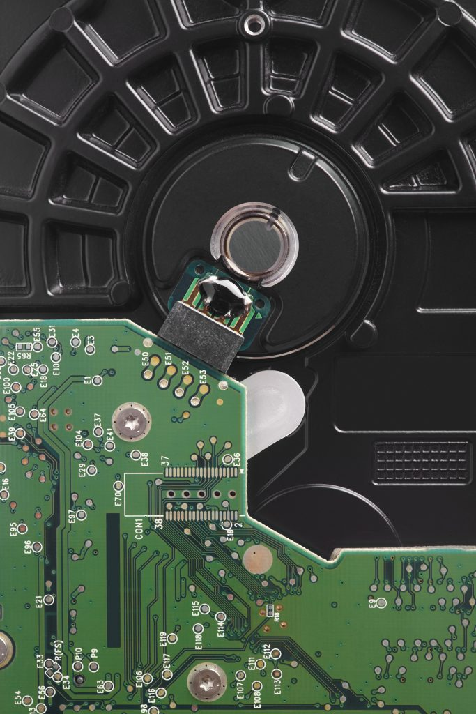 Hard drive disc detail with mother board. Backup device